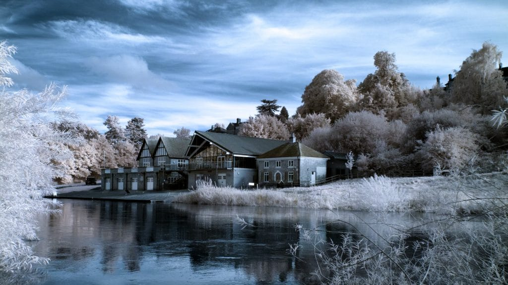 Shrewsbury School Boathouse in infrared